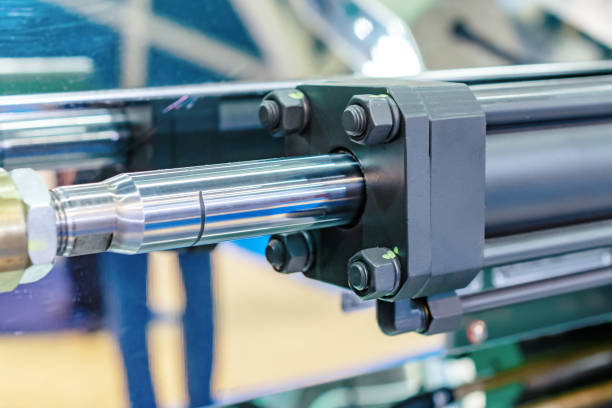 Hydraulic cylinder close-up stock photo