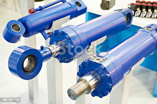 Hydraulic cylinders on stand exhibition
