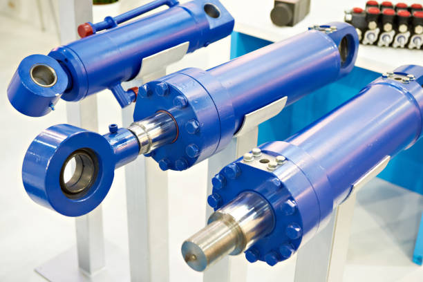 Hydraulic cylinders stock photo