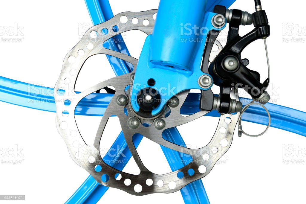 Hydraulic disc brake of  bicycle stock photo