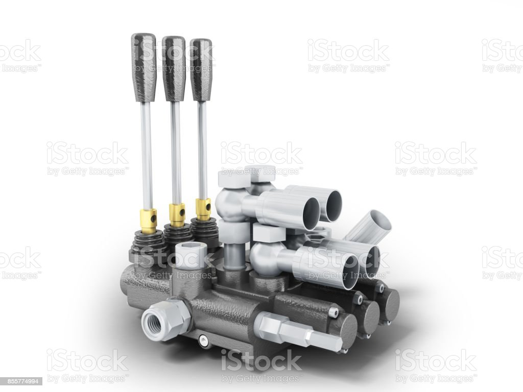 Hydraulic distributor gray perspective 3d render on white background stock photo
