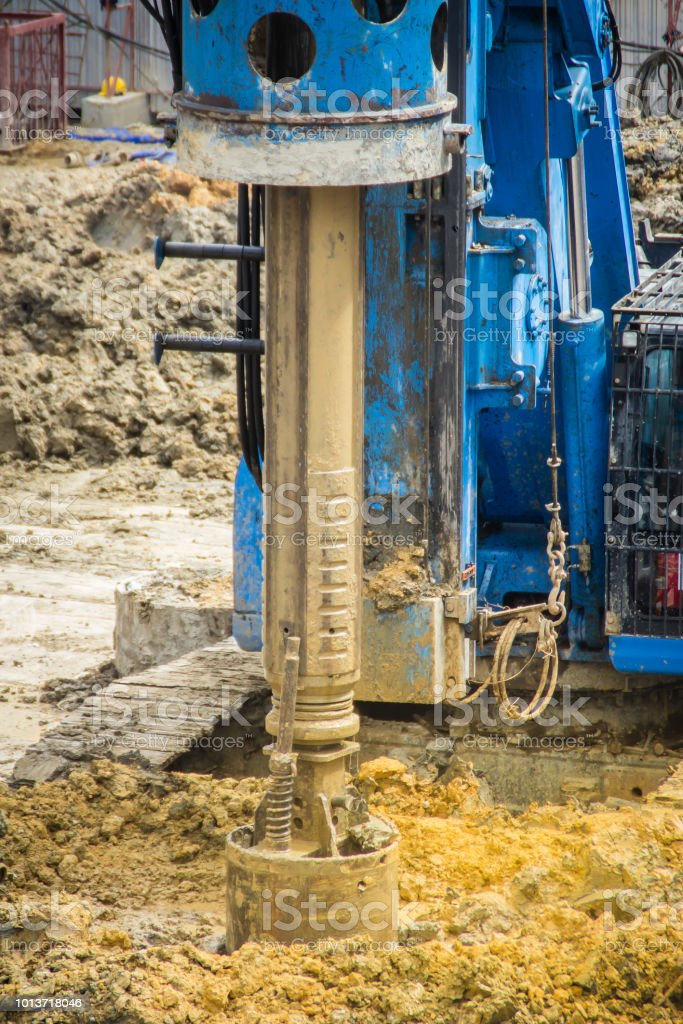 Hydraulic Drilling Machine Is Boring Holes In The Construction Site