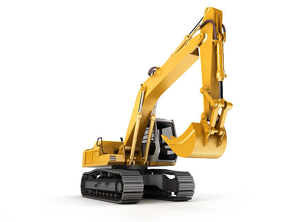Hydraulic Excavator. Front view stock photo