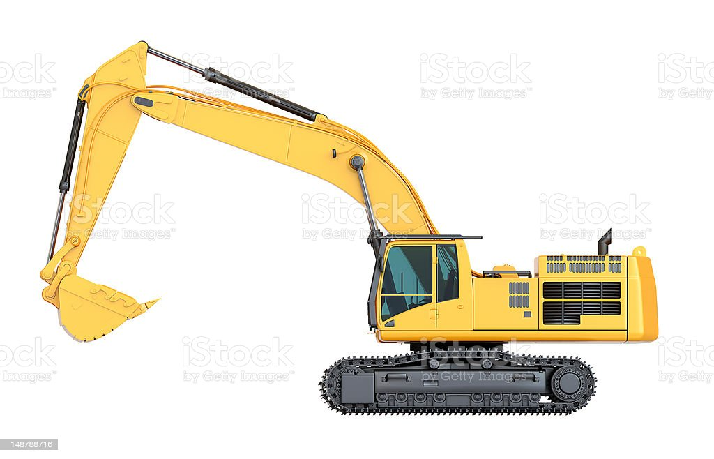 Cat 390d L Hydraulic Excavator Isolated Side View Stock