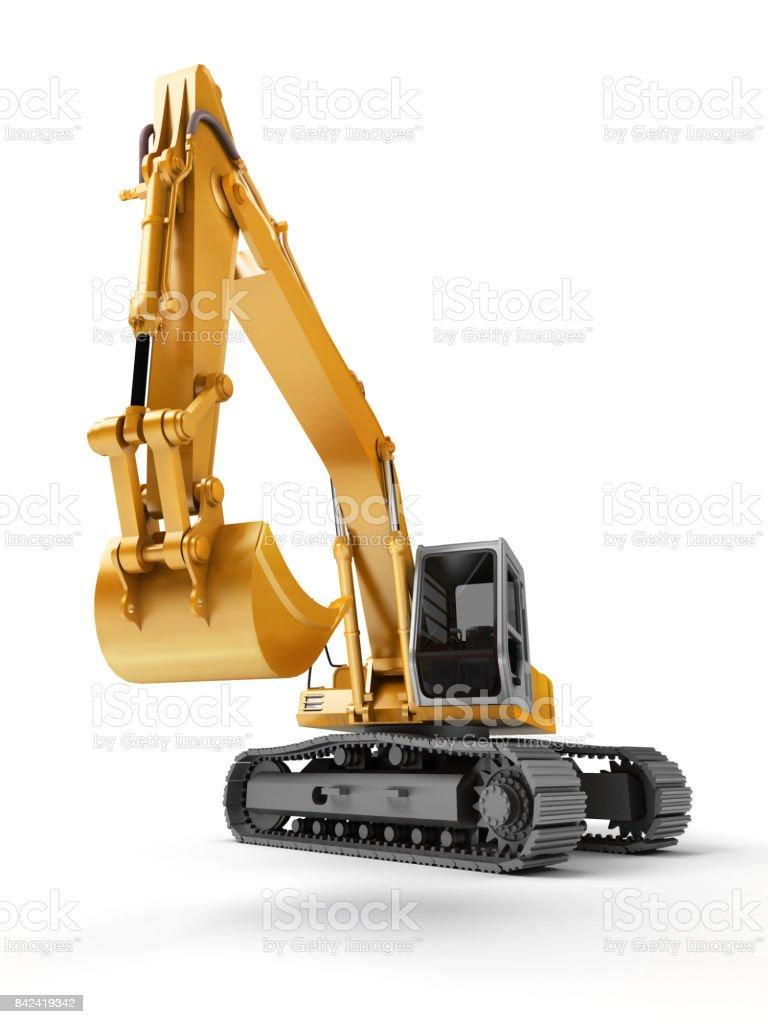 Hydraulikbagger mit Eimer im Vordergrund. 3D Illustration. Ansicht von vorne. Weitwinkel. Isoliert auf weiss – Foto