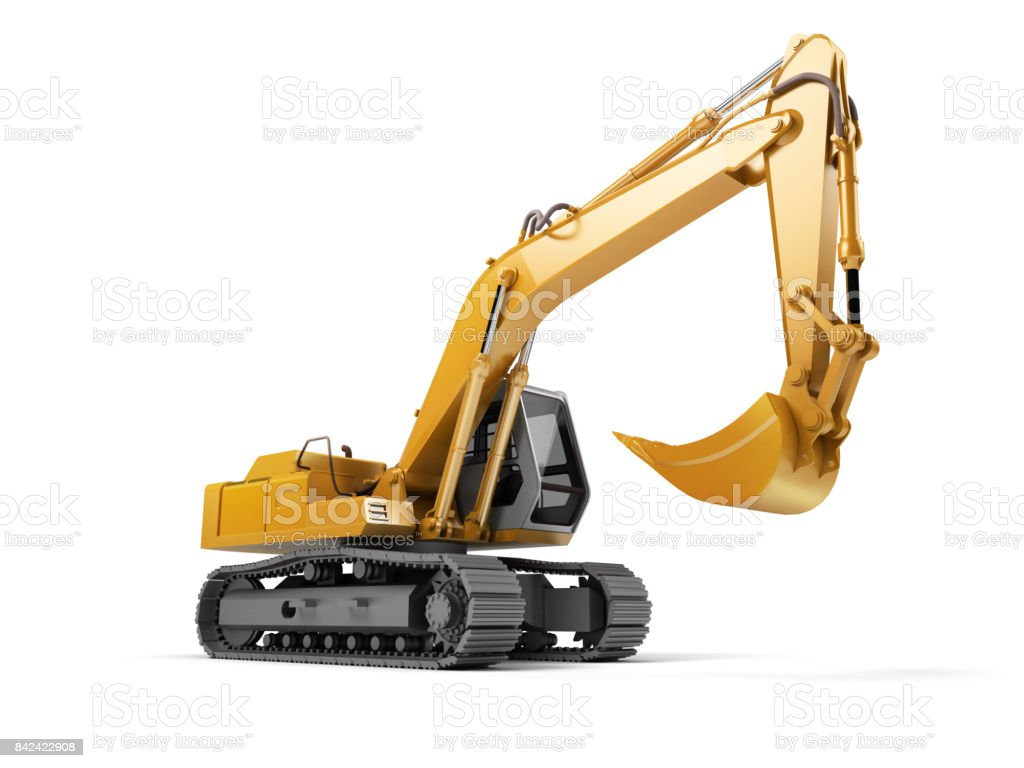 Hydraulic Excavator with bucket isolated on white. 3d illustration. Front side view. Wide angle stock photo