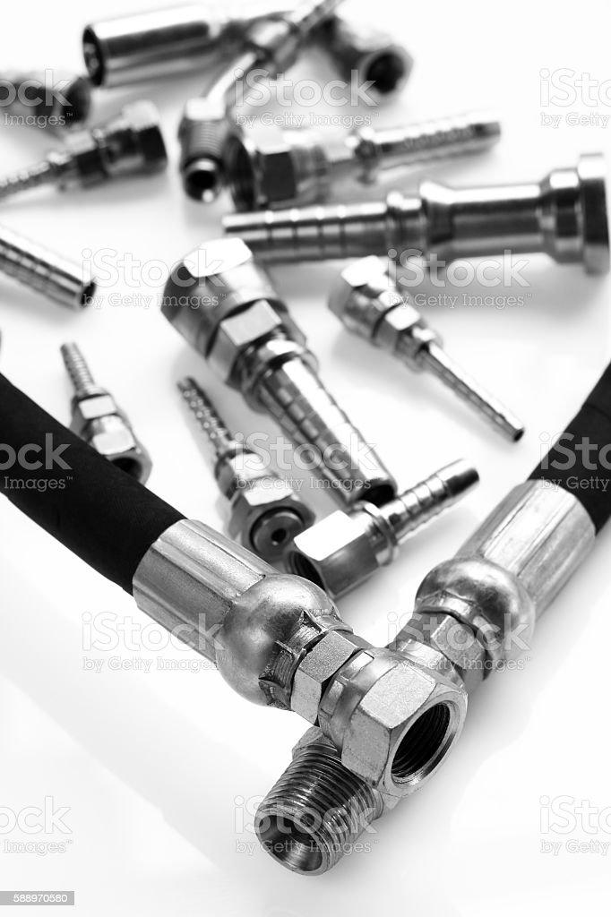Hydraulic fitting stock photo