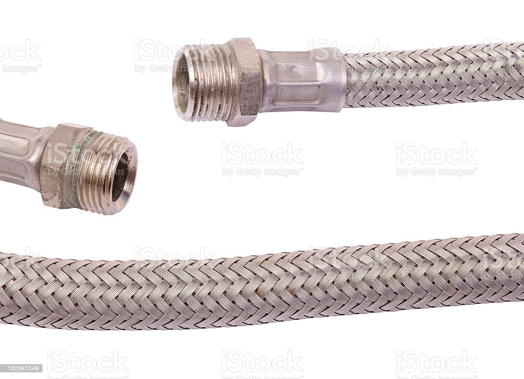 Hydraulic fittings and hose stock photo