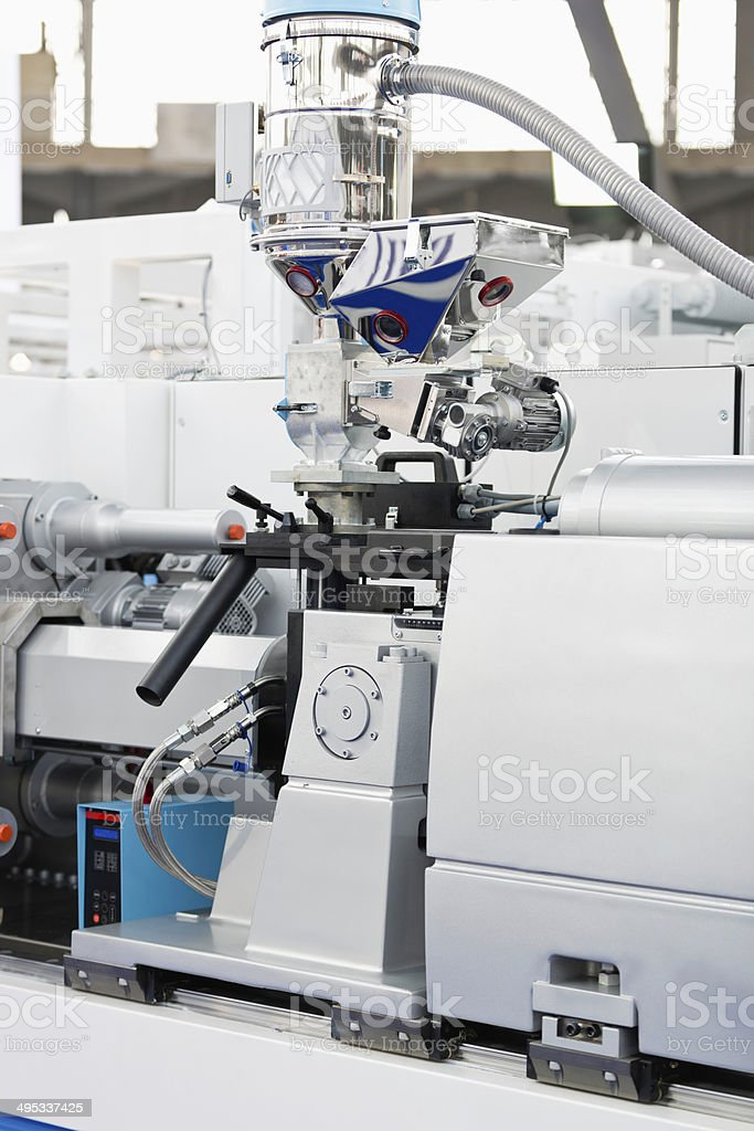 Hydraulic injection molding machine stock photo