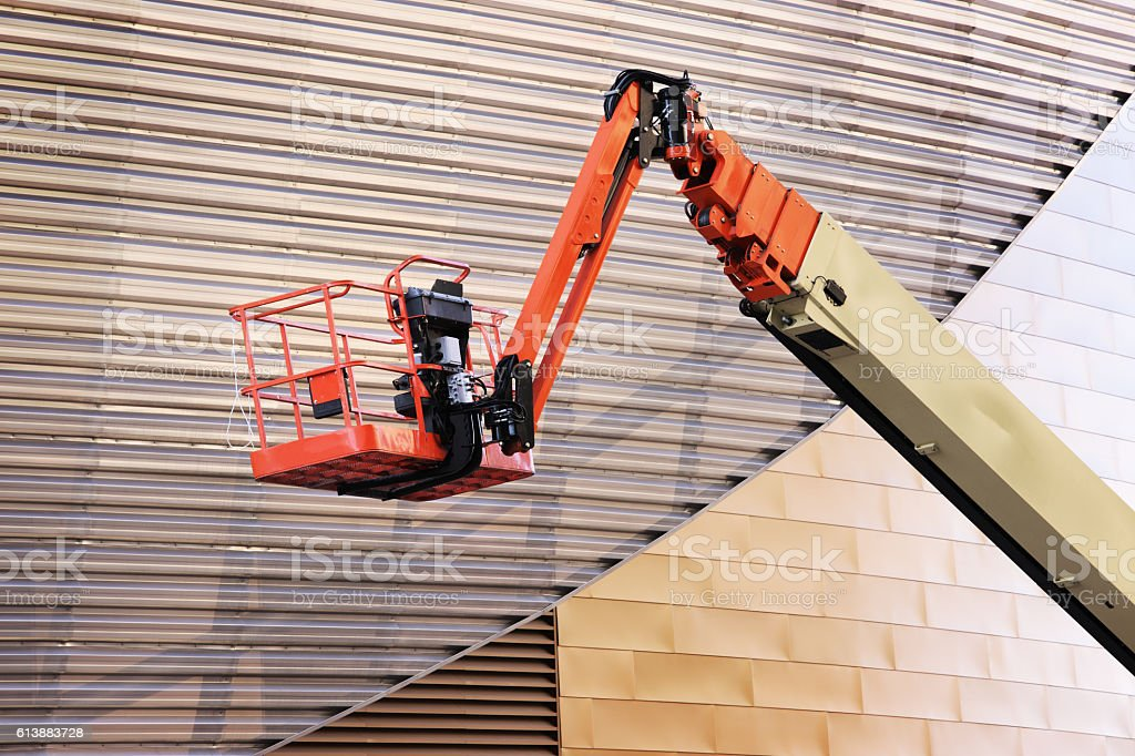 Hydraulic Lift Cherry Picker Construction Equipment stock photo