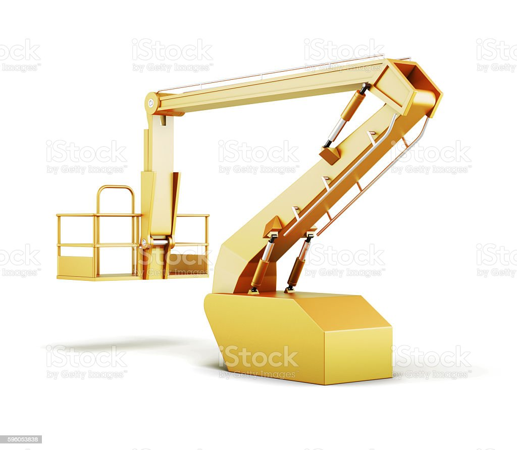 Hydraulic lift machines isolated on white background. 3d renderi royalty-free stock photo