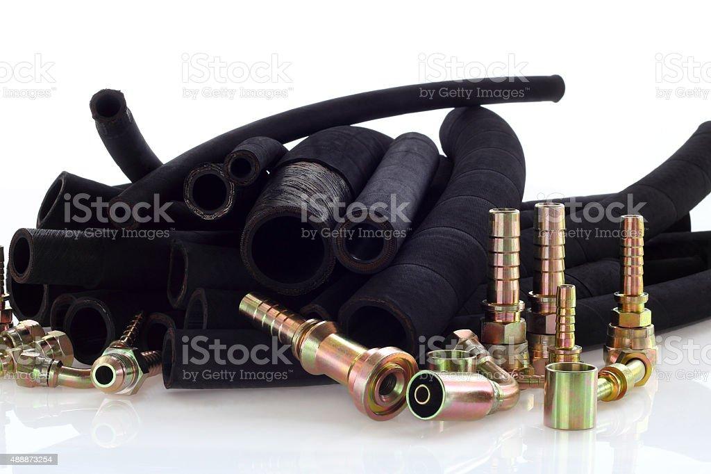 Hydraulic line. stock photo