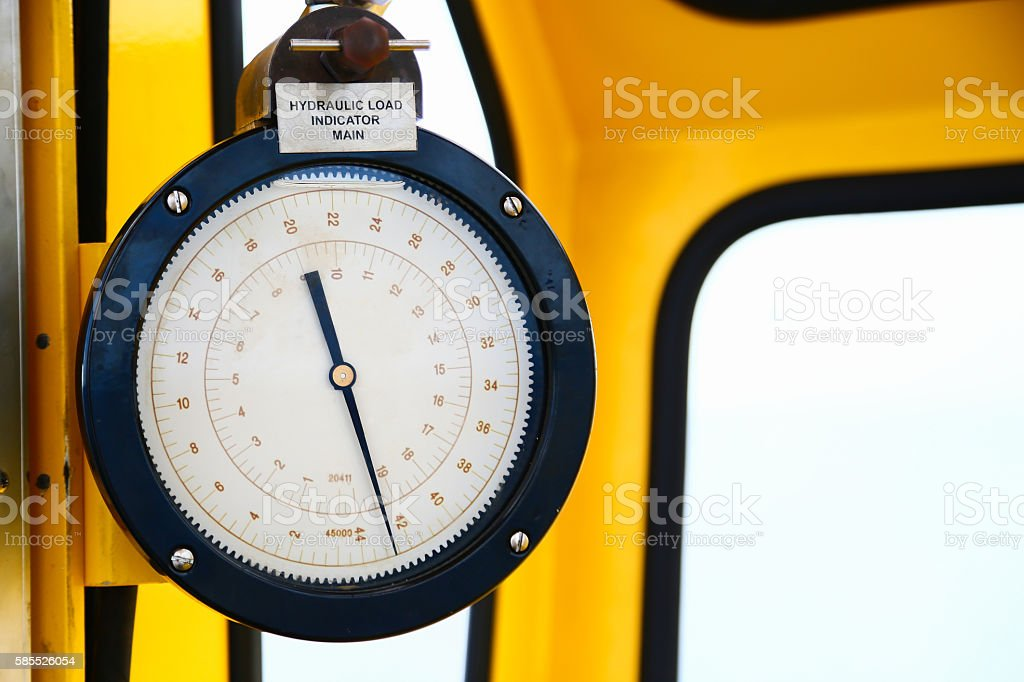 Hydraulic load indicator in control room, Gauge display stock photo