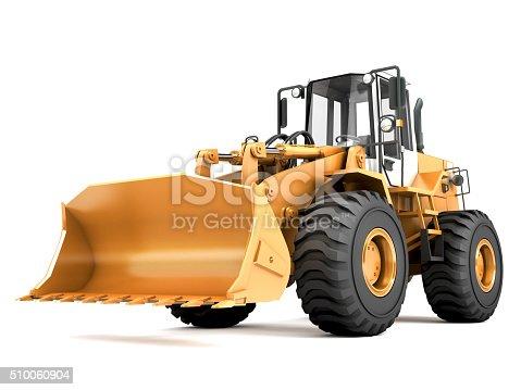 Orange hydraulic loader isolated on white background
