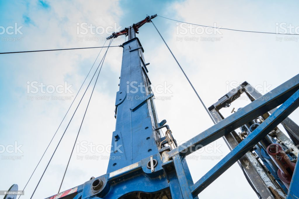 Hydraulic lubricator and blowout preventer at oil and gas remote platform while operating to perforation on gas well. Oil rig activity. stock photo