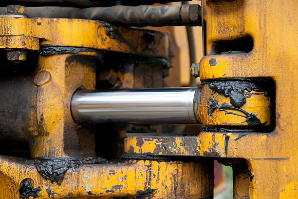 hydraulic piston - smering stockfoto's en -beelden