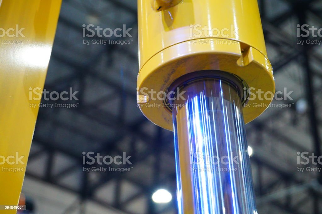 Hydraulic piston stock photo