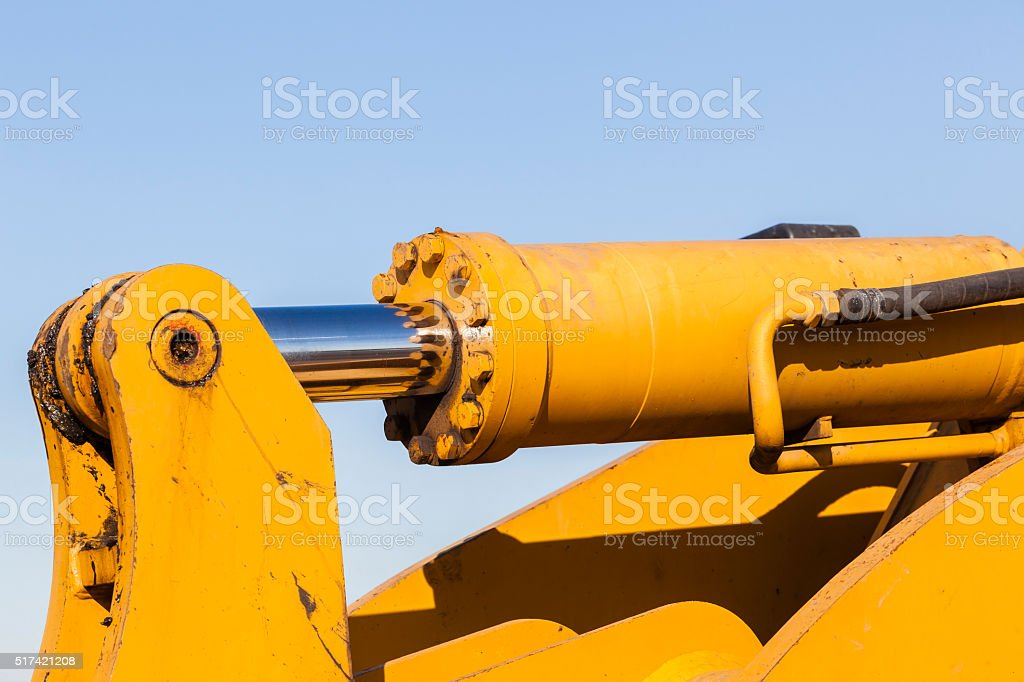 Hydraulic Piston Shaft Cylinder Pin stock photo