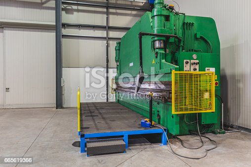 Green Hydraulic Press Brakes in industrial hall