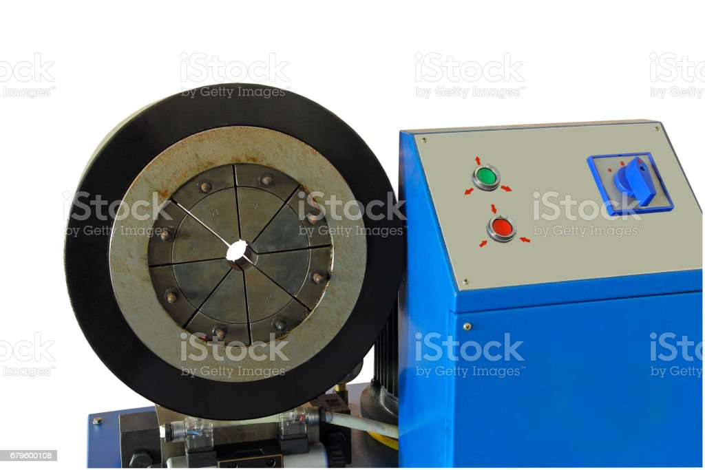 Hydraulic Rubber hose crimping machine with control panel isolated on white stock photo
