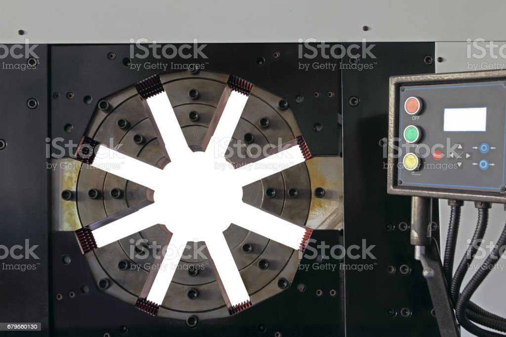 Hydraulic Rubber hose crimping machine with control panel. stock photo