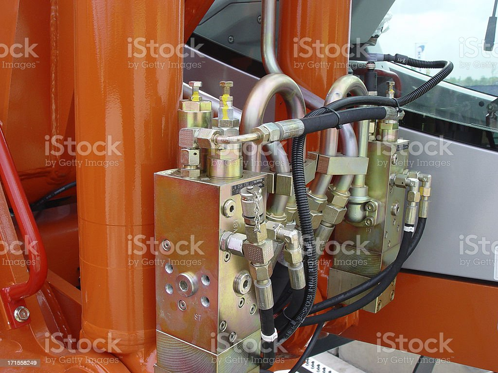 hydraulic system excavator royalty-free stock photo