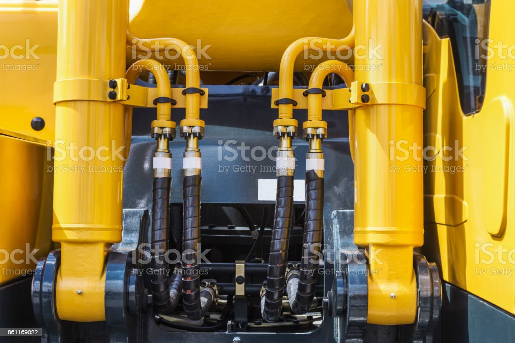 hydraulic system of the tractor, tube and connections stock photo