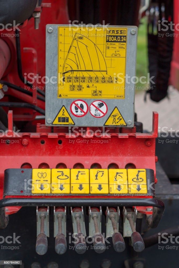 Hydraulic tubes, fittings and levers on control panel of lifting mechanism stock photo
