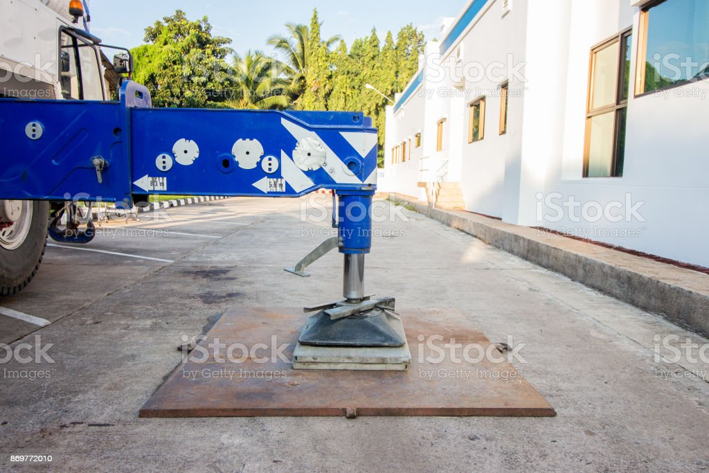 Hydraulics crane support stock photo
