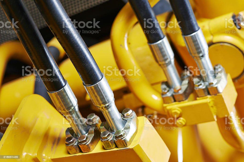 Hydraulics of machinery stock photo