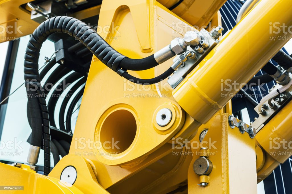 hydraulics pipes and nozzles, tractor or other construction equi stock photo