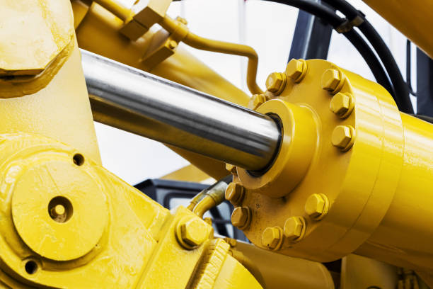 hydraulics tractor yellow stock photo