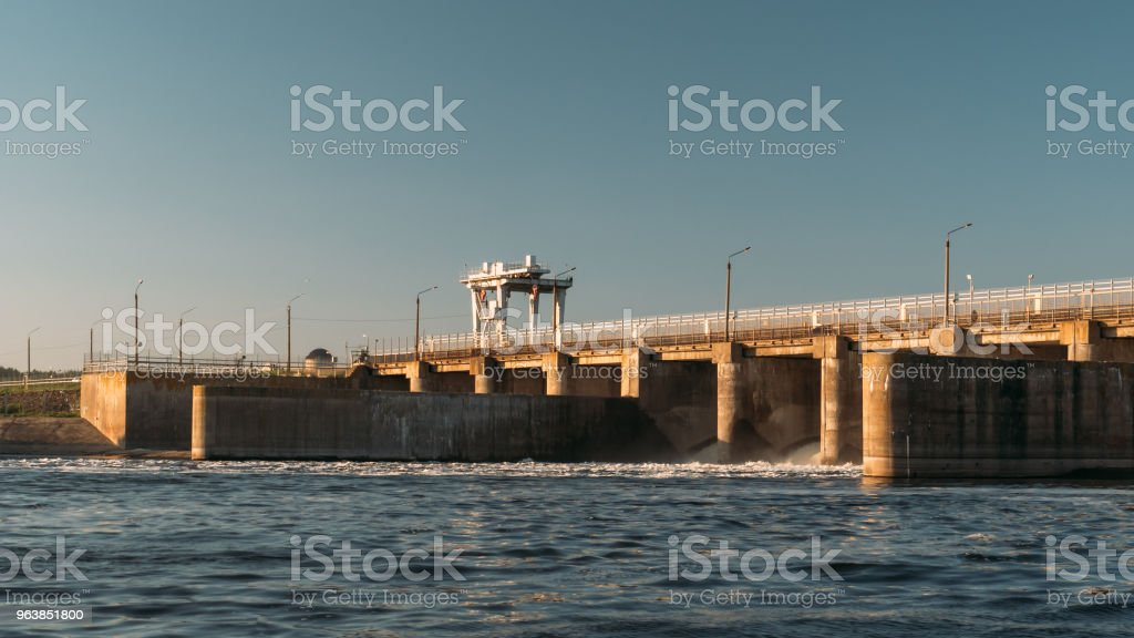 Hydro dam at water reservoir, Hydropower Plant at sunset - Royalty-free Accidents and Disasters Stock Photo