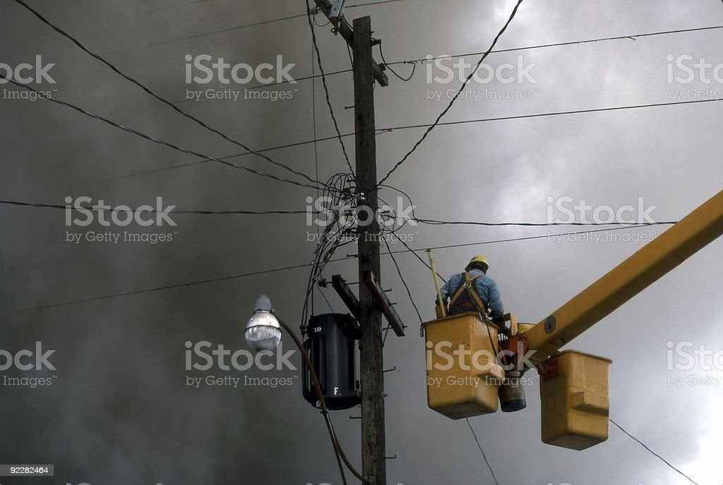 Hydro During House Fire stock photo