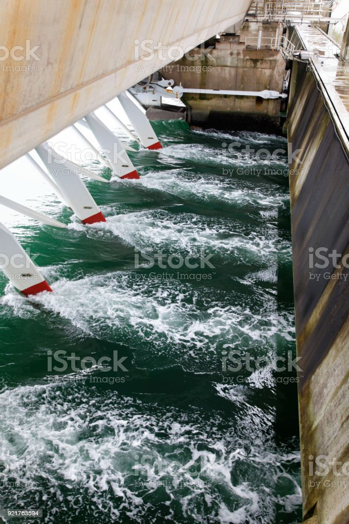 Hydro electric power station in the Eastern Scheldt provides green energie stock photo