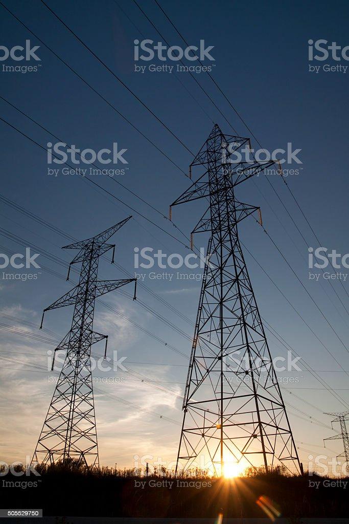 Hydro line tower rocket stock photo