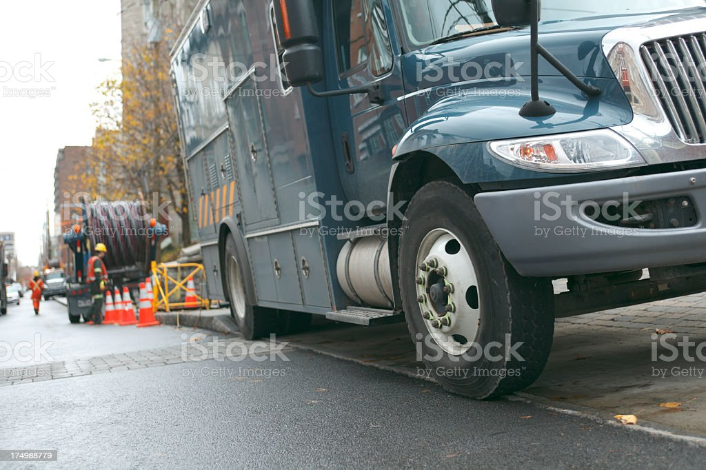 Hydro Quebec Truck with Worker stock photo