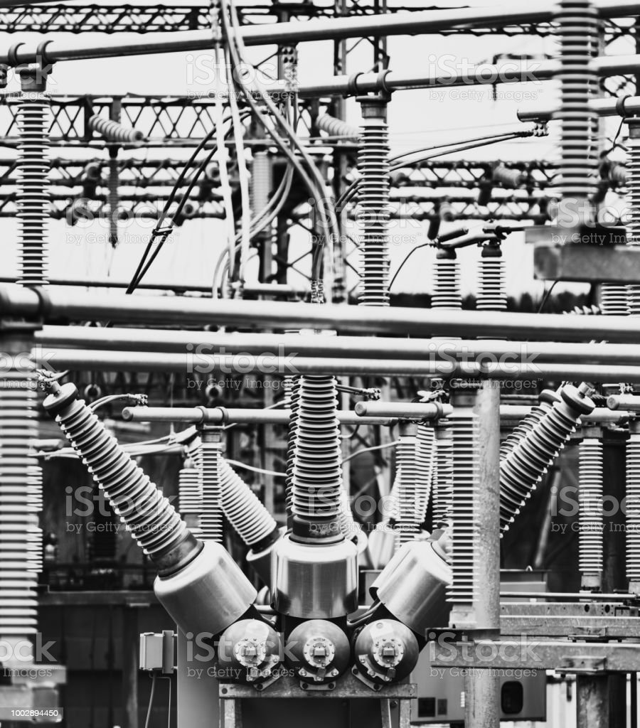 High voltage hydro station transformers.