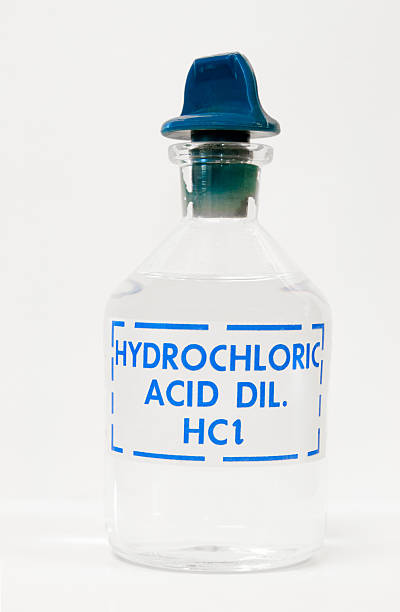 Hydrochloric acid in a bottle stock photo