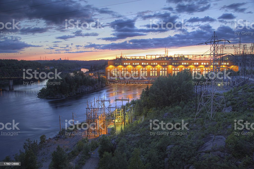 Hydroelectric Dam at Sunset royalty-free stock photo