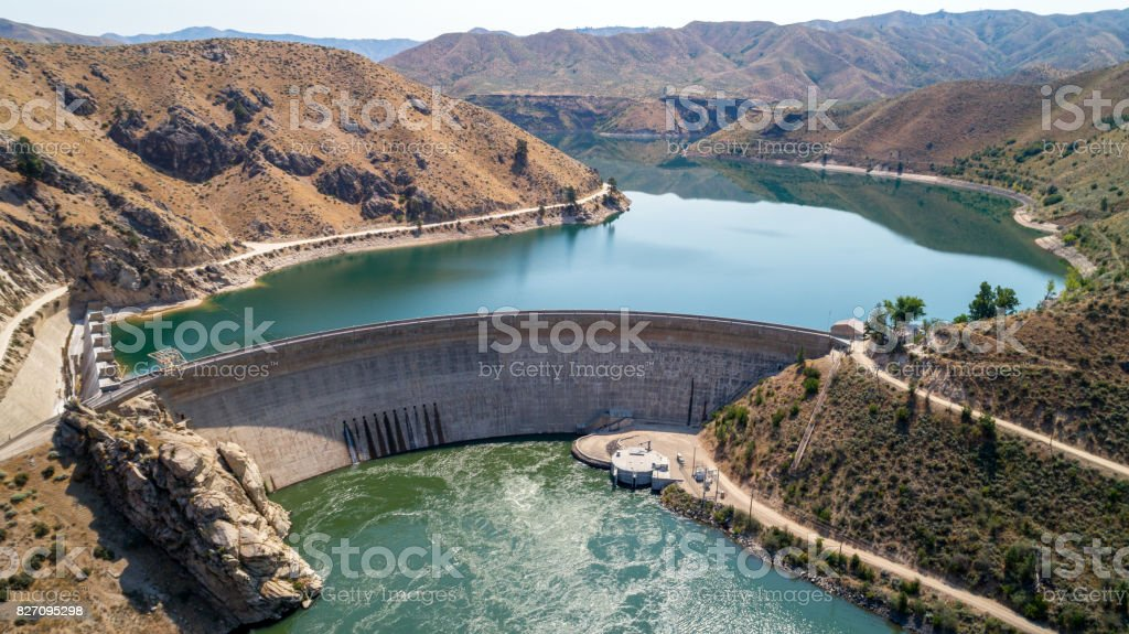 Hydroelectric Dam in Idaho beautiful view of both sides stock photo