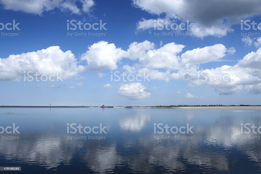 Hydroelectric plant - artificial lake royalty-free stock photo