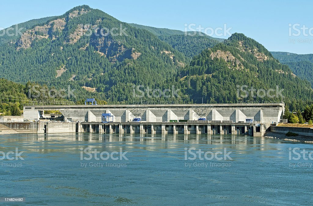 Hydroelectric power dam on Columbia River in Washington state royalty-free stock photo