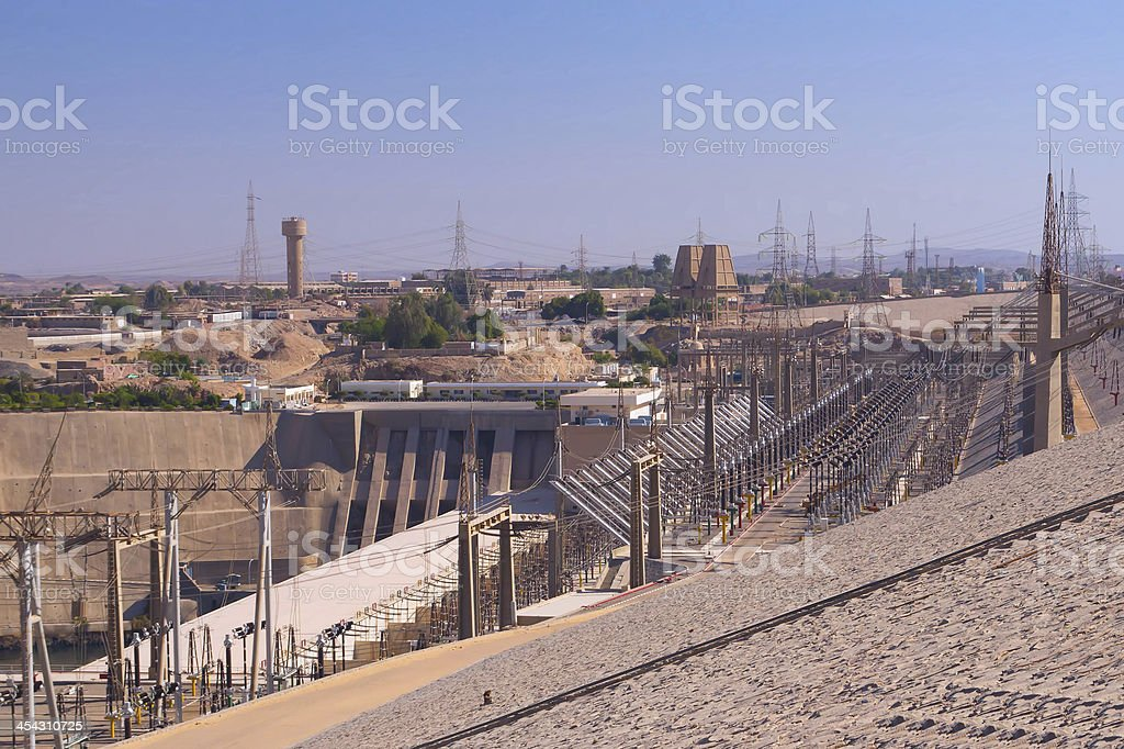 Hydroelectric power plant in Aswan dam (Egypt) stock photo