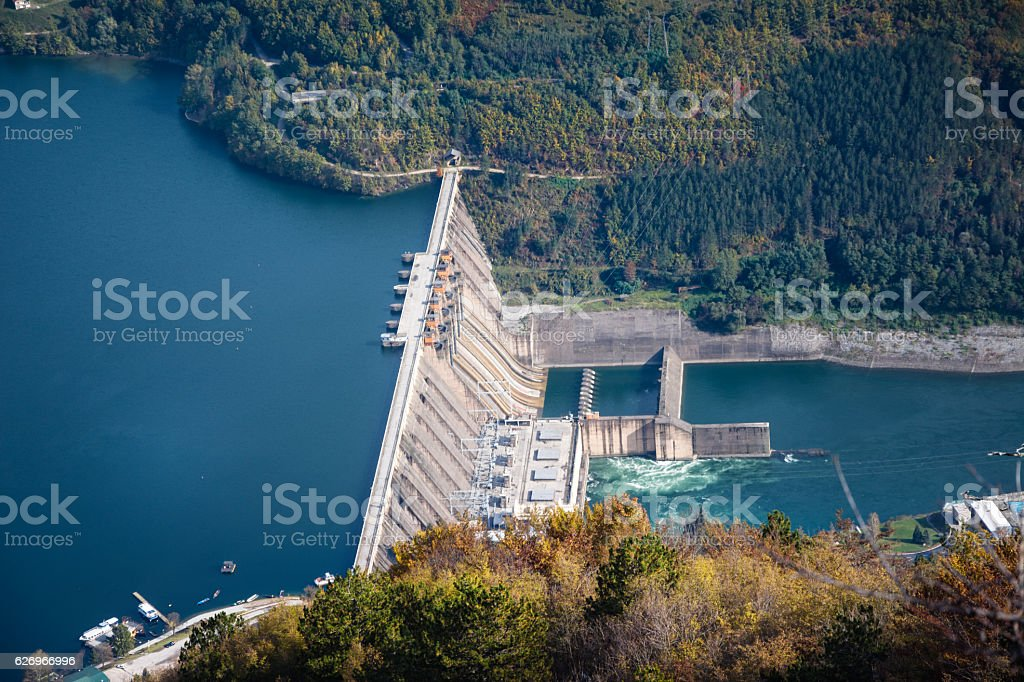 Hydroelectric power plant on river royalty-free stock photo