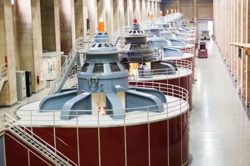 Turbines of hydroelectricity power station generators inside the Hoover Dam fuel and power generation plant, Arizona, Nevada, USA.