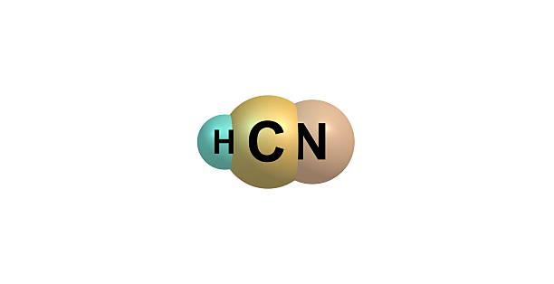 Cyjanowodór struktury molekularnej odizolowane na białym – zdjęcie