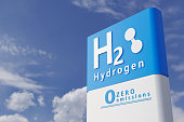 istock Hydrogen fuel car charging station white color visual concept design. 3d Illustration 1290614699