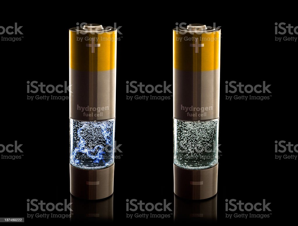 Hydrogen fuel cell AA (LR6) batteries w/ electrical discharge stock photo