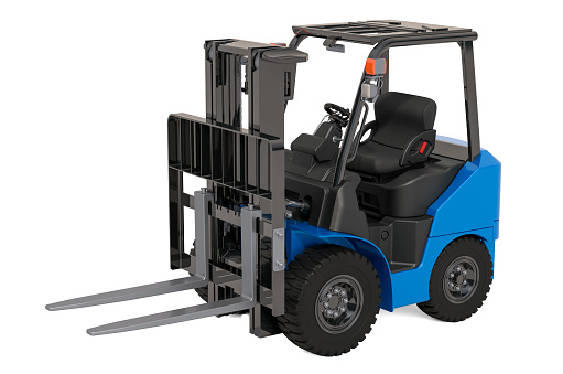 Hydrogen Fuel Cell Forklift Truck, 3D rendering isolated on white background